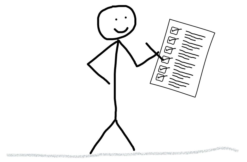 Depicts a stickman ticking through a checklist